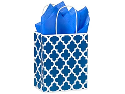 Medium Sapphire Blue Geo Graphics Recycled Paper Bag - Package of 5