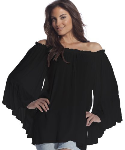 Elan Women's Flutter Sleeve Top, Black, One Size