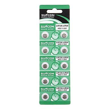 Acheter SUNCOM AG2/LR726/LR726 396A piles bouton 1,55 V alcaline (10 pièces)