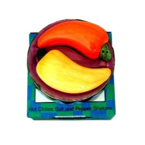 Hot Chilies Salt and Pepper Shakers 3 Piece Set
