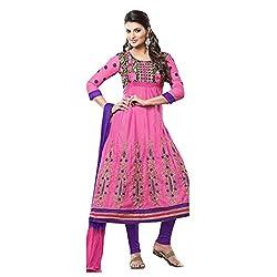 Parabdhani Fashion Women's Chanderi Semi Stitched Suit (PBF_DM_07_Pink_Free Size)