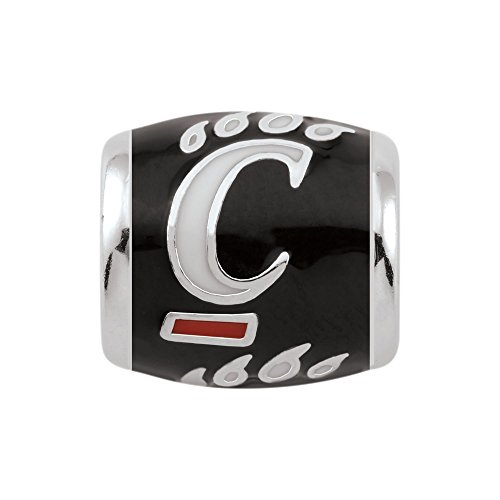 Persona Sterling Silver University of Cincinnati White C on Black Bead Charm