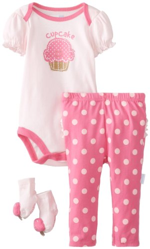 Vitamins Baby Baby-Girls Newborn Cupackake Pack Bodysuit Pant Set, Pink, 6 Months
