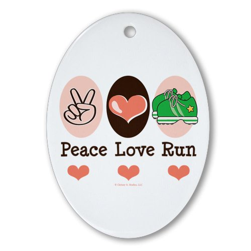 CafePress - Peace Love Run Runner Oval Ornament - Oval Holiday Christmas Ornament