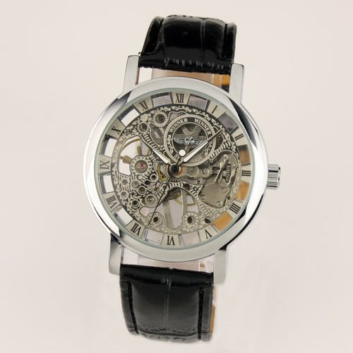 New Men's Black Leather Luxury Skeleton Dial Hand-Wind Up Mechanical Wrist Watch