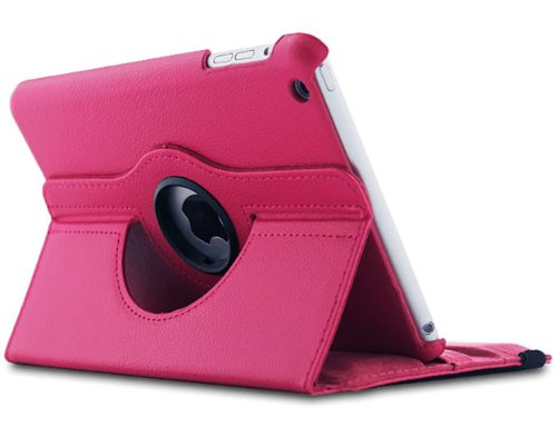 >>  Afunta(tm) Leather 360 Degree Rotating Stand Case Cover & Screen Protector for the New Apple Ipad Mini 7.9 Inch with a Capacitive Pen (Hot Pink)