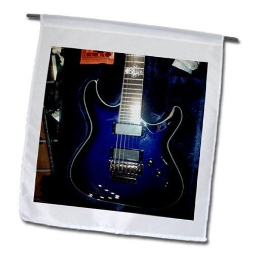 Florene - Music - Print Of Blue Electric Guitar With Chrome Skull - Flags - 12 X 18 Inch Garden Flag - Fl_194734_1