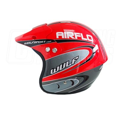 WULF AIRFLO RED OPEN FACE OFF ROAD, TRIALS, GREENLANE, ENDURO, QUAD, KART HELMET (MEDIUM 58-59)