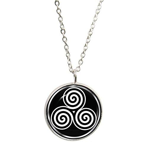 3 spirale, pendente, placcati argento e collana