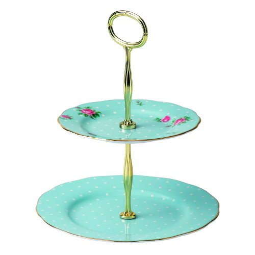 Royal Albert 8705025866 Vintage Formal 2-Tier Cake Stand, Polka Blue