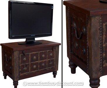 TV Kolonialmöbel als Fernsehtisch mit 50x70x40cm - Massivholzmöbel, Kolonialmöbel, Möbel im Kolonialstil (Beispiel: Sitzmöbel im Kolonialstil), Kolonialmöbelstuck