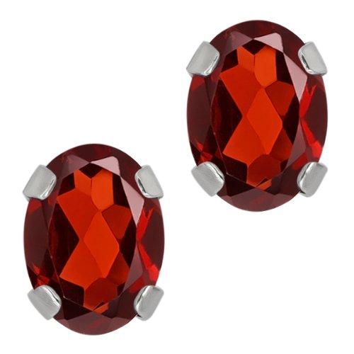 1.80 Ct Oval Red Garnet 14K White Gold 4 prong Stud Earrings 7x5mm