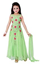 Awesome Fab Light Green Colour Soft Net Semi-stitched Embroidered Gown