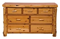 Hot Sale Fireside Lodge Furniture 12050-P Cedar 7-Drawer Dresser, Traditional Premium