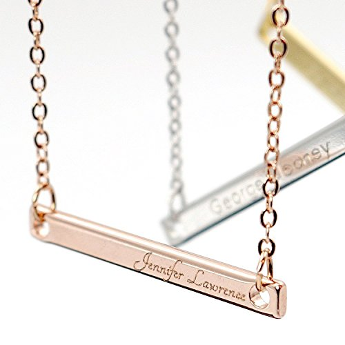 A Your Name Bar Necklace Engraving 16K Gold Silver Rose Gold -Plated Dainty Computer Diamond Engraving Personalized Delicate Necklace Bridesmaid Gift