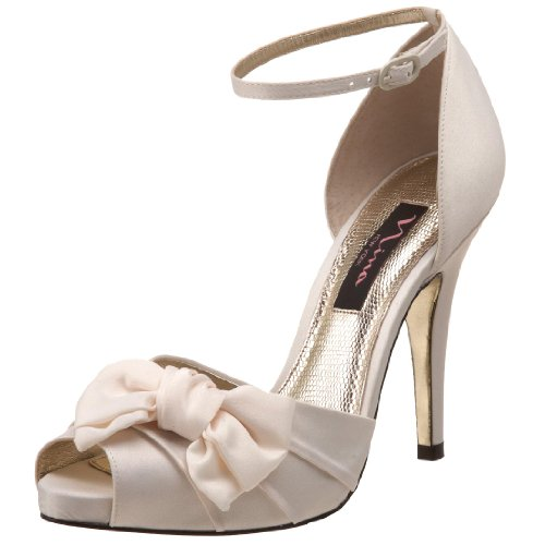 Nina Women's Electra Pump,Ivory Satin,5 M US