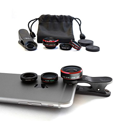 KG Phone Lens - iPhone Camera Lens - 198° Fisheye Lens - Macro Lens 15x - Wide Angle Lens 0.63x - 3 in 1 - Moment Lens for iPhone 7 6 5 - Samsung Galaxy S6 S5 S4 - Other Smartphone Camera Lens (Olloclip Samsung Galaxy S5 Mini compare prices)