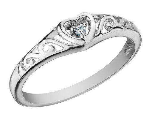 Diamond Heart Promise Ring in 10K White Gold, Size 6.5