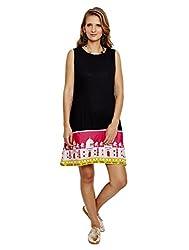 Jalebe Women's A-Line Dress_INDTJBL015_Black_S