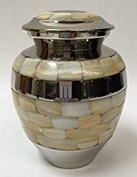 Cremation urn, funeral urns, pet or human, brass with mother of pearl