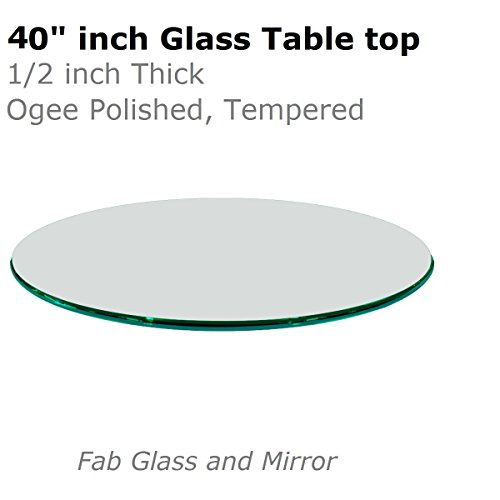 Glass table top 40 inch round 12 inch thick ogee tempered for 12 inch round glass table top