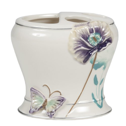 GARDEN GATE TOOTHBRUSH HOLDER CERAMIC LILAC