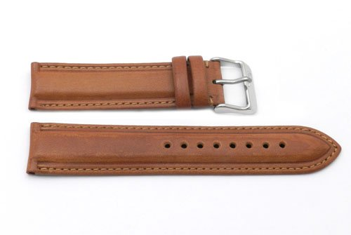 20Mm Tan Italian Leather Classic Design Watchband With Silver Tone Buckle And Nubuck Lining