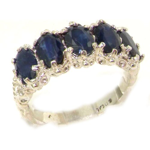 925 Sterling Silver Natural Sapphire Women's Eternity Ring