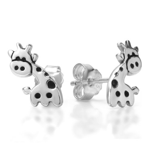 Sterling Silver Small Cute Giraffe Post Stud Earrings