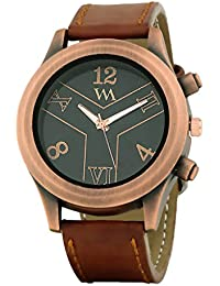 WATCH ME Brown Leather Black Dial Watch For Men Brown Leather Black Dial Watch For Men Watch MeAL-183
