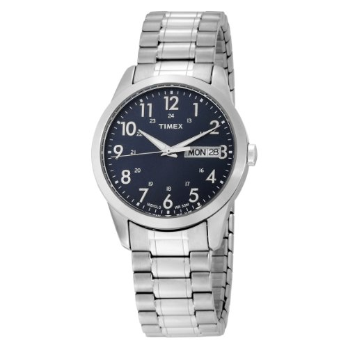 Timex Men's T2M933 Elevated Classics Dress Silver-Tone Expansion Band Watch
