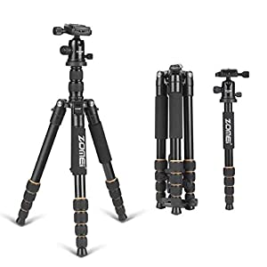 "ZOMEI® Camera Tripod,64.5 Inch Portable Magnesium Aluminium Monopod Professional Camera Tripod With 360°Degree Ball Head 1/4"" Quick Release Plate and Carry Case For Digital/Video/DSLR Cameras - 15KG Max Load"