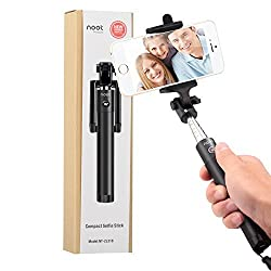 Selfie Stick, NOOTPRODUCTS LOCUST Series Compact Portable Self-Portrait Extendable Monopod with built-in Bluetooth Remote Shutter for iPhone 6s, 6, 5s, Android and All Other Smartphones - Black