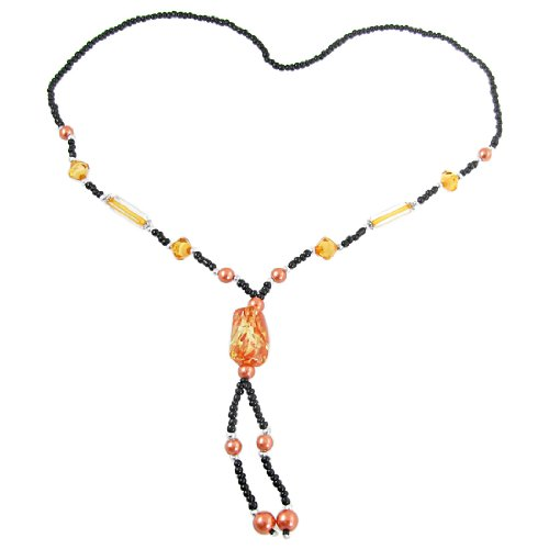 Rosallini Lady Orange Faux Stone Shaped Pendant Round Plastic Beads Decor Sweater Necklace