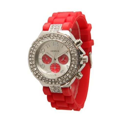 Red Geneva Women's Silicone Band Large Face Designer Inspired Faux Chronograph Boyfriend Watch with Baguette Stones Bling Bezel-Red