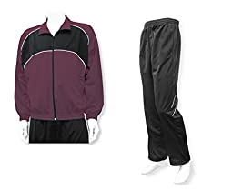 Men\'s casual warm up jacket/pant set - size Adult L - color Maroon Jacket/Black Pants