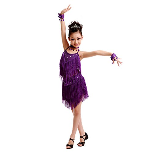 Girls' Party Dancing Dress Latin Dress Costume Split 110cm-120cm,Purple