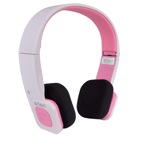 Eagle Tech Arion Arhp200Bf Foldable Bluetooth Headphone With Wireless Music Streaming And Hands-Free Calling , Includes Hard Travel Case - White/Pink