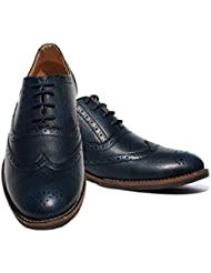 "Blue Brogue Faux Leather Formal Shoes For Men ( TPR Sole ,Faux Leather Lined And 1.5"" Heel )"