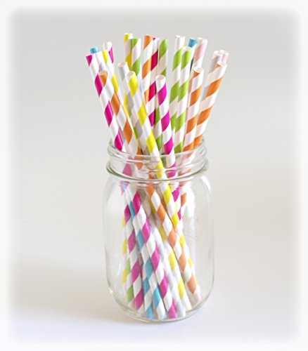 Rainbow Striped Straws, Candy Striped Straws, Party Paper Straws, Stripe Straw, 25 Pack - Light Color Stripes front-749267