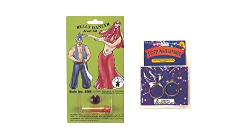 Belly Jewel Kit (Jewel color varies) AND Gypsy clip on Costume Earrings