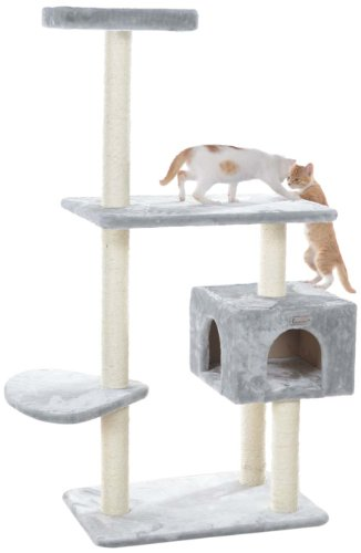 GleePet GP78560322 Cat Tree, 57-Inch, Silver Gray