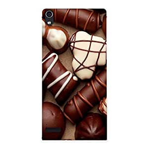 Impressive Chocolate Sweets White Brown Back Case Cover for Ascend P6