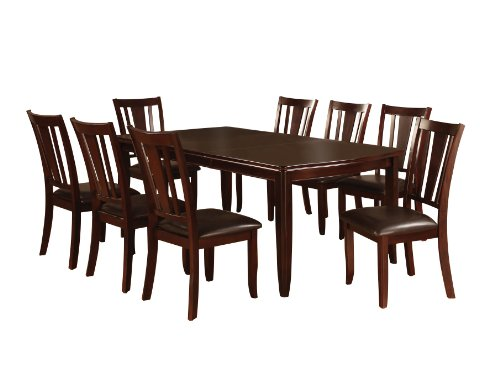 Furniture of America Frederick 9-Piece Dining Table Set with 18-Inch Expandable Leaf, Espresso Finish (9 Piece Espresso Dining Set compare prices)