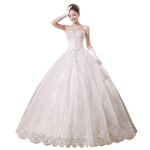 Partiss Women's Strapless Tulle Wedding Dress, Chinese XL, Beige