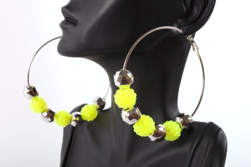 Neon Yellow Shamballah 2.5 Inch Hoop Earrings with 3 Disco Balls and 4 Plated Balls Basketball Mob Wives Iced Out Lady Gaga Poparazzi