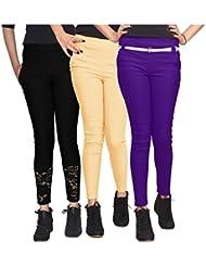 Xarans Stylish Looking Cotton Lycra Net, Button, Zip Jegging Set Of 3 Pcs - B01KJJ9SX6