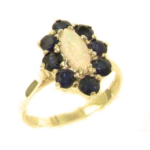 Luxury Ladies Solid British Yellow Gold Natural Opal & Sapphire Cluster Ring - Size 9.75 - Finger Sizes 5 to 12 Available