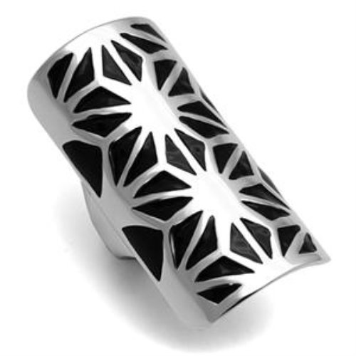 Women'S High Polished Stainless Steel Jet Epoxy Dinner Ring - Size 5