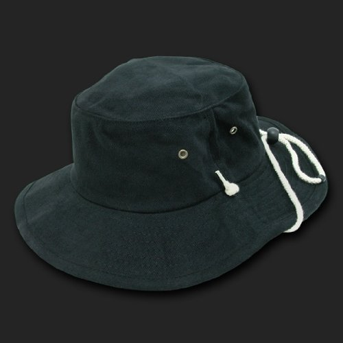 648557f91e48a1 Black Aussie Style Outback Drawstring Boonie Hat -- Bucket Hat Size SMALL/ MEDIUM Review